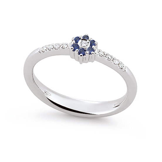 Stylish Sapphire Ring Made In Italy 0.05 Ct Diamond 18K White Gold