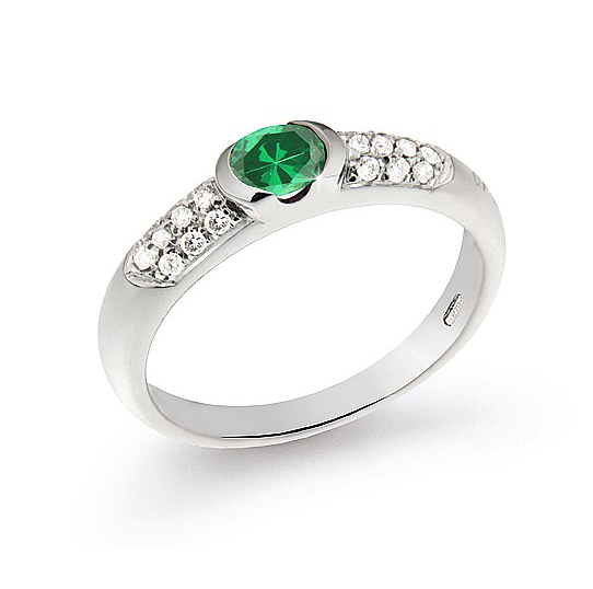 0.51 Ct Italian Emerald Ring 0.17 Ct Diamond 18K White Gold