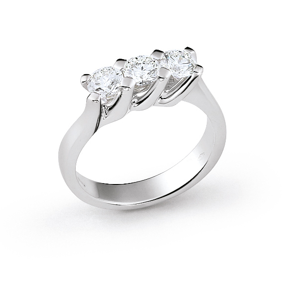 Exquisite 3-Stone Italian Ring 0.45 Ct Diamond 18K White Gold