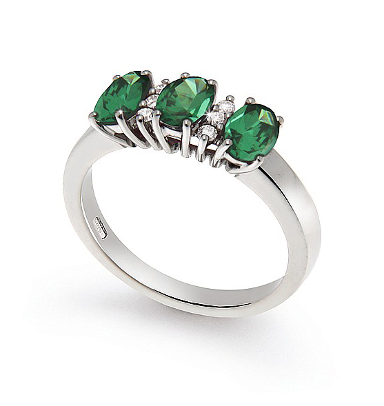 Oval Cut 1.08 Ct Emerald 3-Stone Ring 0.09 Ct Diamond 18K White Gold