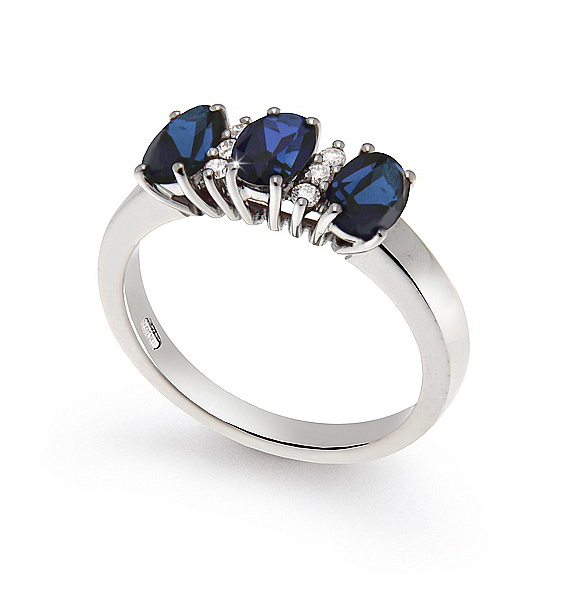 Oval Cut 1.68 Ct Sapphire 3-Stone Ring 0.09 Ct Diamond 18K White Gold