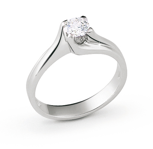 Luxury Curved Solitaire Italian Ring 0.2 Ct Diamond 18K White Gold