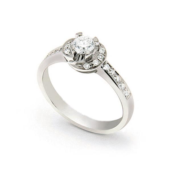 Unique Italian Halo Ring 0.47 Ct Diamond 18K White Gold