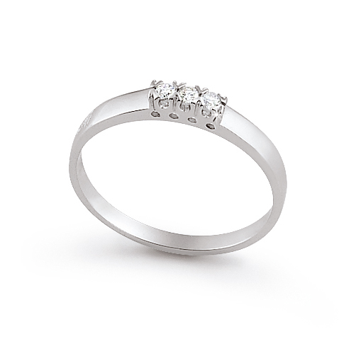 Delicate Italian Ring With 3 Stones 0.08 Ct Diamond 18K White Gold