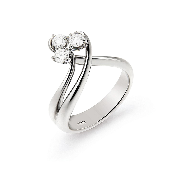 Exclusive 3-Stone Italian Ring 0.33 Ct Diamond 18K White Gold