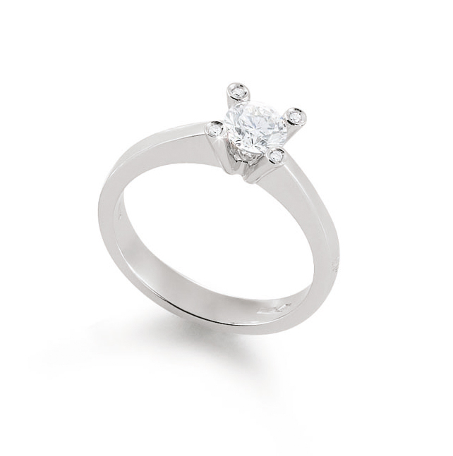 Exclusive Italian Solitaire Ring 0.36 Ct Diamond 18K White Gold