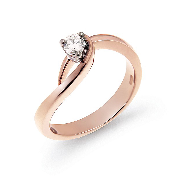 Curved Solitaire Italian Ring 0.17 Ct Diamond 18K White And Rose Gold