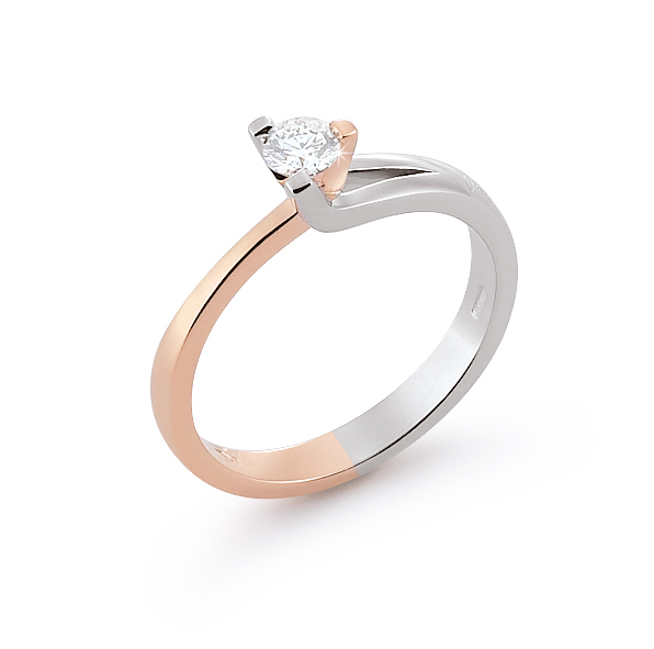 Unique Solitaire Two-Tone Ring 0.24 Ct Diamond 18K White And Rose Gold