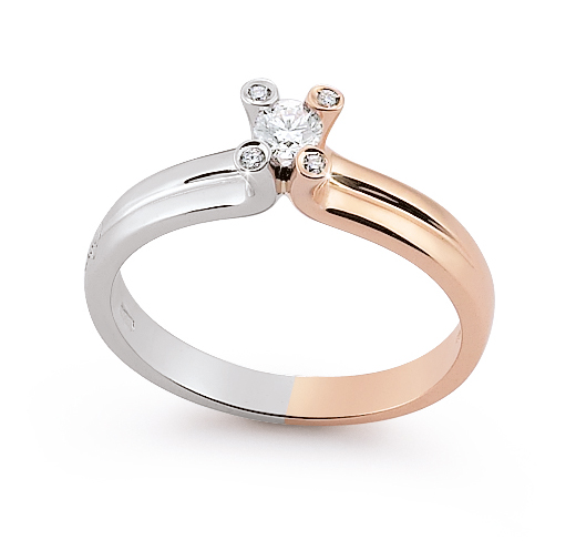 Unique Two Tone Italian Solitaire Ring 0.18 Ct Diamond 18K White And Rose Gold