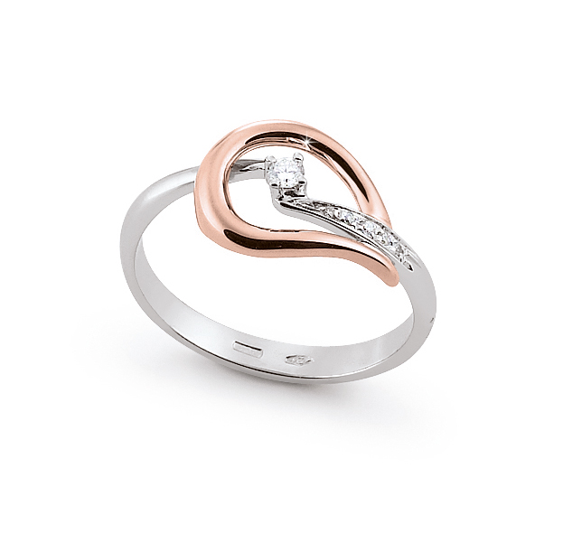 Modern Italian Two-Tone Ring 0.09 Ct Diamond 18K White And Rose Gold
