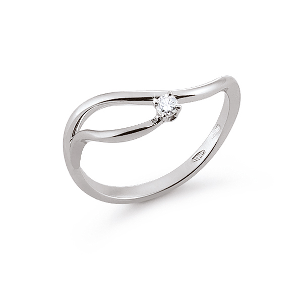 Italian Curved Solitaire Ring 0.03 Ct Diamond 18K White Gold