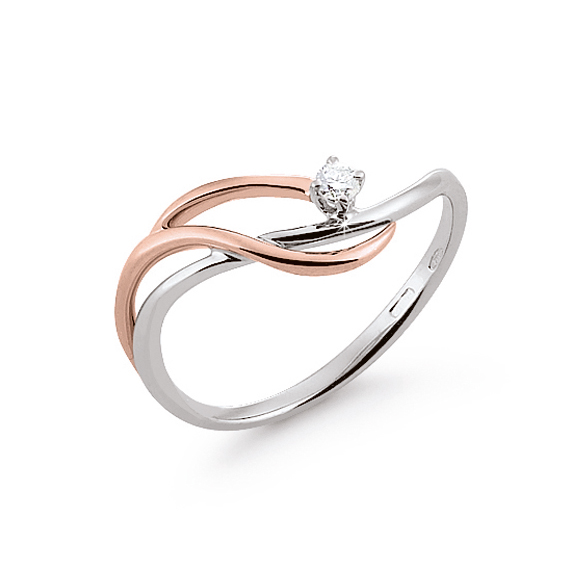 High-Class Curved Shank Italian Solitaire Ring 0.03 Ct Diamond 18K White And Rose Gold