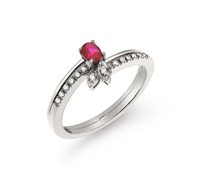 0.22 Ct Ruby Ring From Italy 0.07 Ct Diamond 18K White Gold