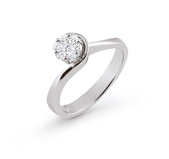 Italian Curved Halo Ring 0.25 Ct Diamond 18K White Gold