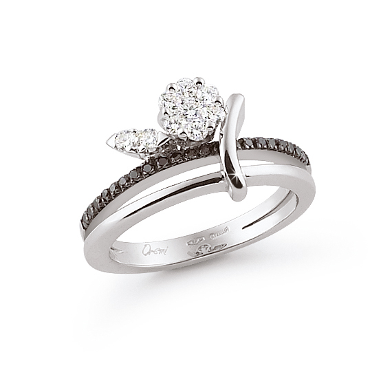 Extraordinary Italian Flower Ring 0.41 Ct (0.29 Ct White; 0.12 Ct Black) Diamond 18K White Gold