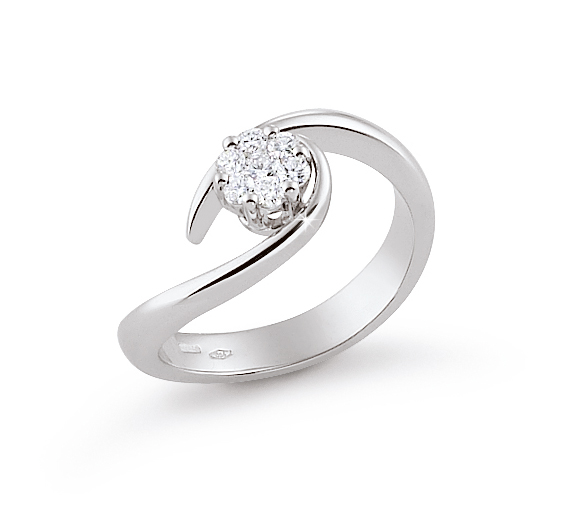 Italian Ring With Curved Flower 0.24 Ct Diamond 18K White Gold