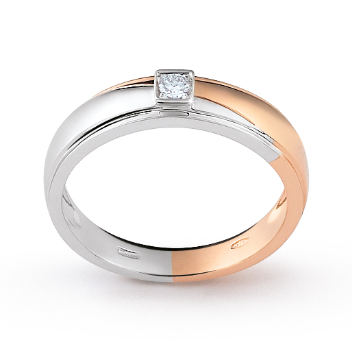 Solitaire Italian Band Ring 0.05 Ct Diamond 18K White, Rose Gold