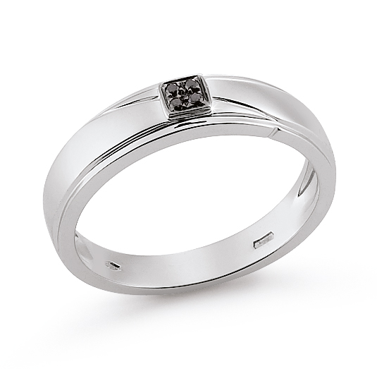Solitaire Italian Band Ring 0.08 Ct Diamond 18K White Gold