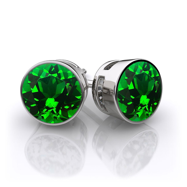 Emerald Earrings Bezel Studs