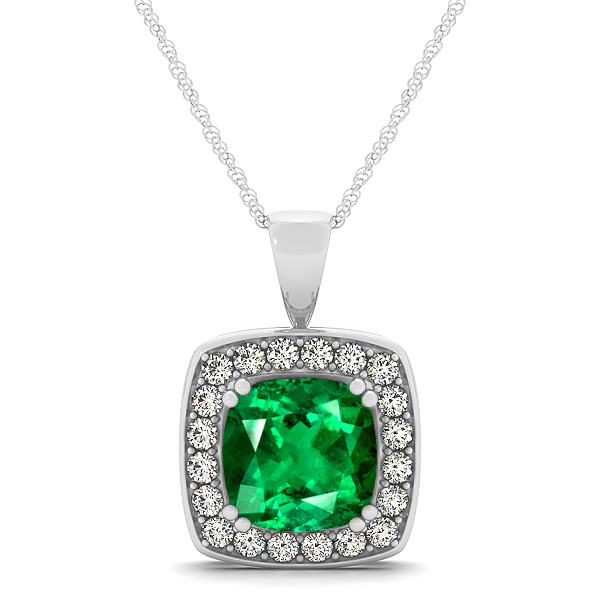 Attractive Dark Green Cushion Emerald Halo Necklace