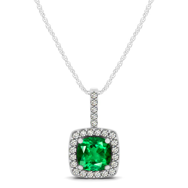 Cushion Emerald Square Halo Necklace