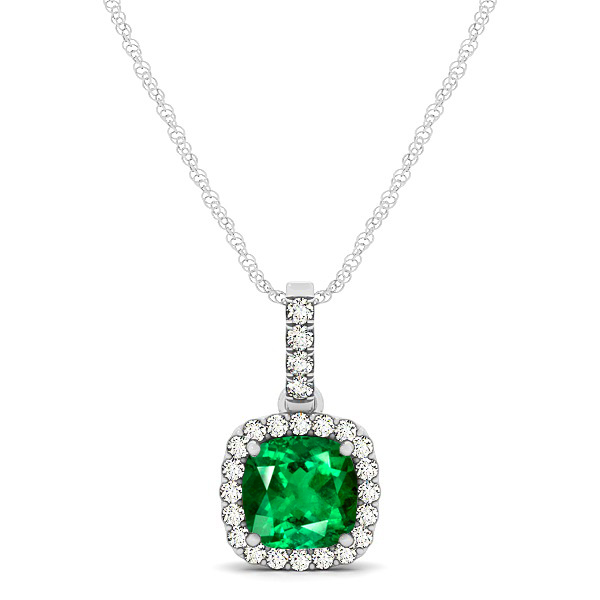 Elegant Cushion Emerald Halo Pendant Necklace