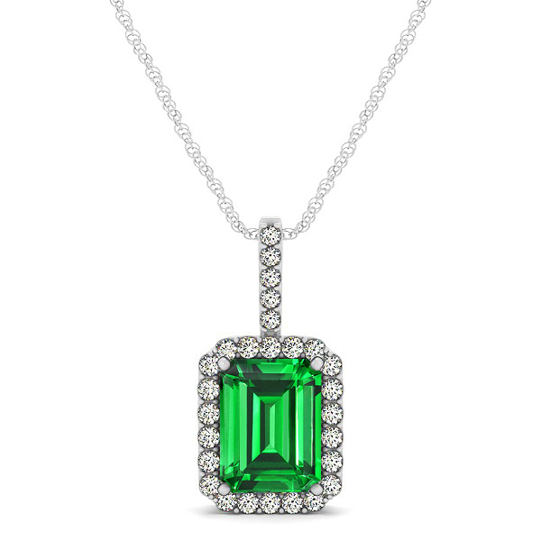 Halo Emerald Cut Emerald Necklace Classic Design