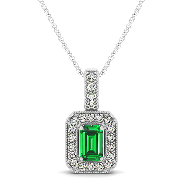 Emerald necklaces from encore dt vintage emerald cut emerald pendant necklace aloadofball Choice Image