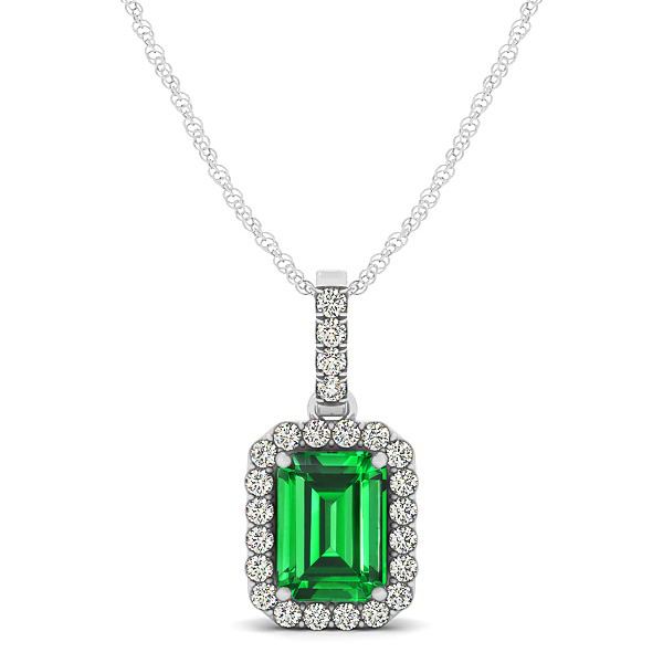 Classic Emerald Cut Emerald Necklace with Halo Pendant