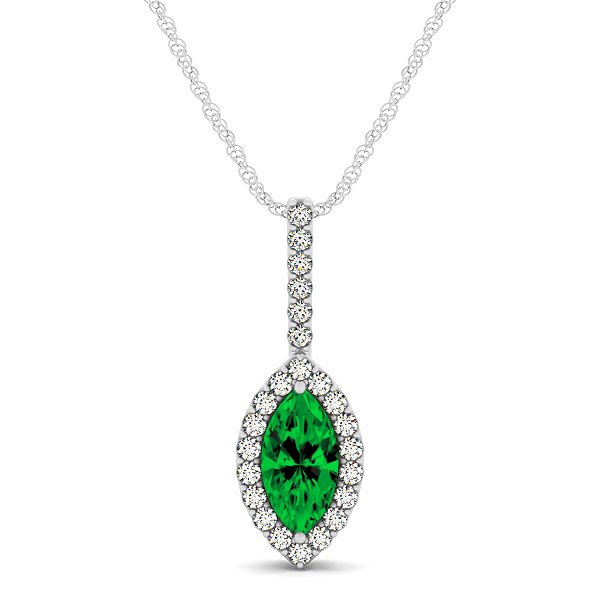 Fashionable Halo Marquise Cut Emerald Necklace