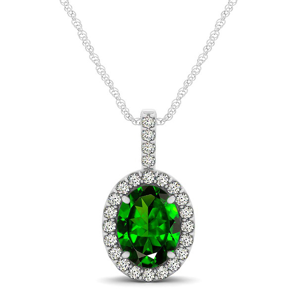 Classic Drop Halo Necklace with Oval AAA Emerald Pendant