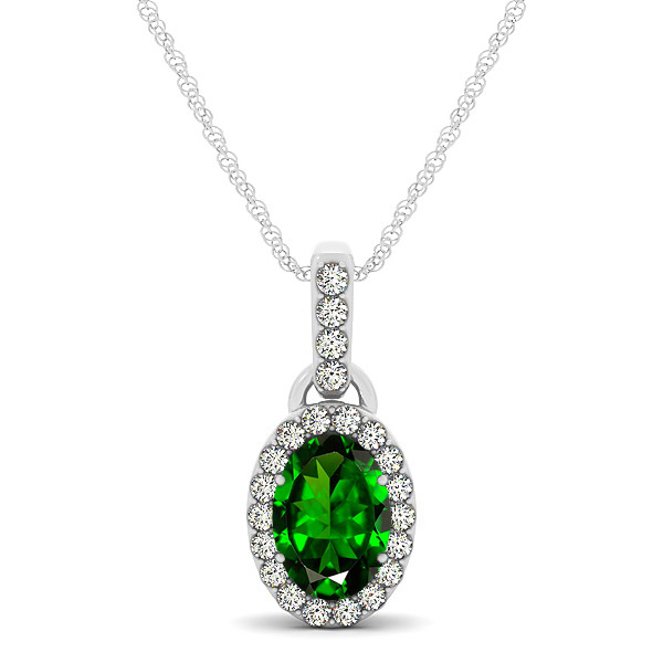 Lovely Halo Oval Emerald Necklace in Gold, Silver or Platinum