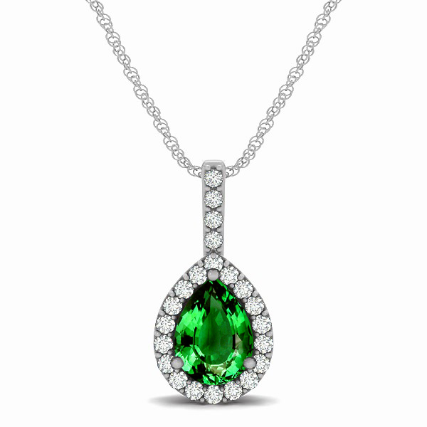 Exclusive Pear Halo Emerald Pendant Necklace