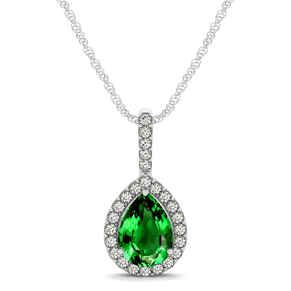 Classic Drop Necklace with Pear Cut Emerald Pendant