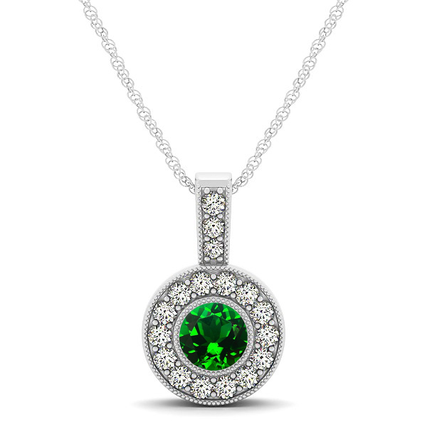 Dark Green AAA Round Emerald Vintage Halo Drop Necklace