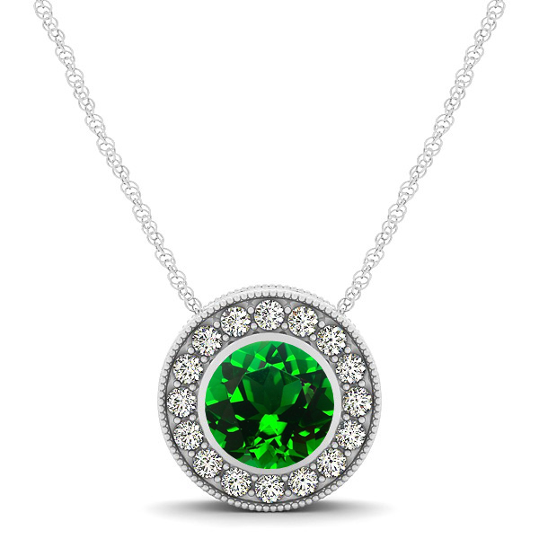 Halo Emerald Necklace with Round Pendant