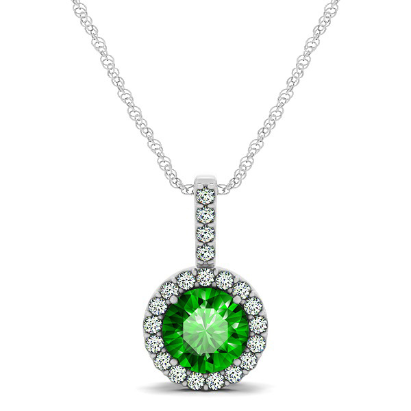 Gorgeous Round Emerald Halo Necklace