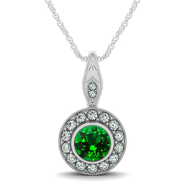 Vintage Emerald Necklace with Round Halo Circle Pendant