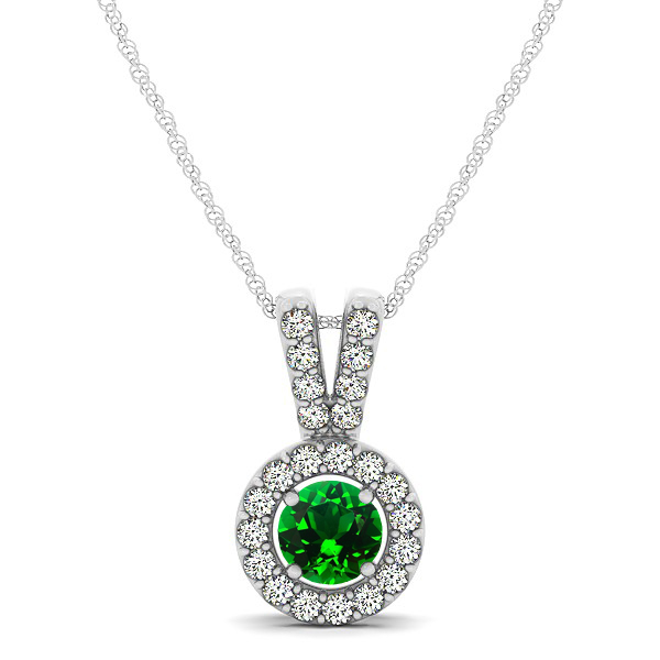 Avant-Garde Round Halo Emerald Necklace