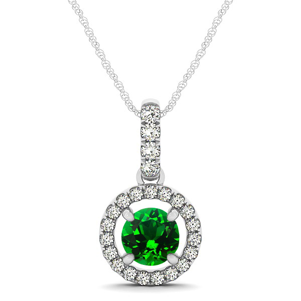 Extraordinary Floating Round Emerald Halo Drop Necklace