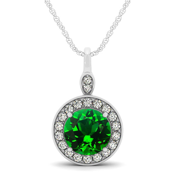 Halo Drop Round Cut Emerald Necklace