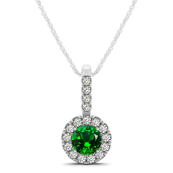 Round Cut Emerald Halo Pendant & Necklace