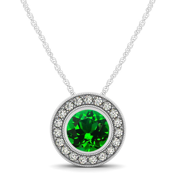 Classy Halo Necklace with Round Cut Emerald Pendant