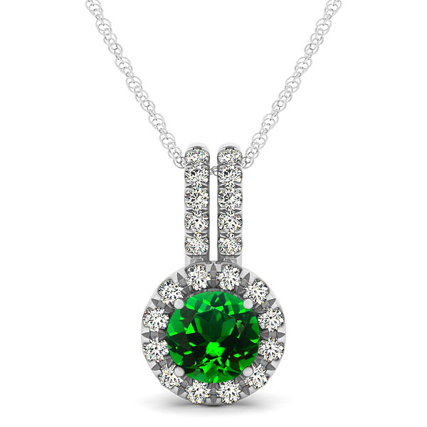 Luxury Halo Drop Necklace with Round Cut Emerald Gemstone