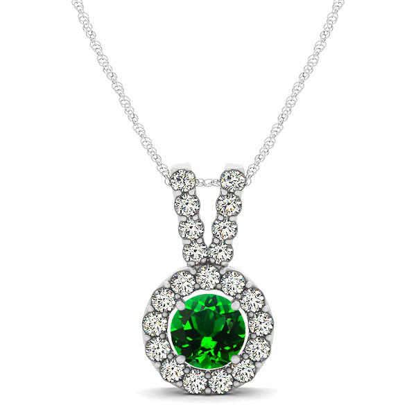 Classique V Neck Halo Necklace with Round Cut Emerald