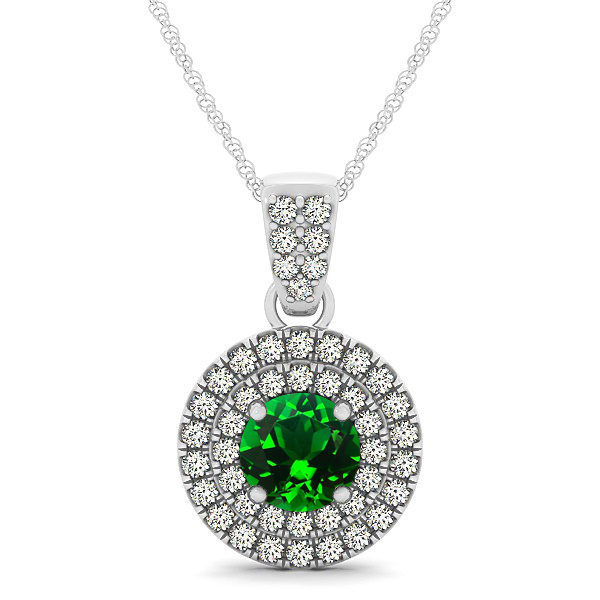 Double Halo Round Emerald Circle Neklace