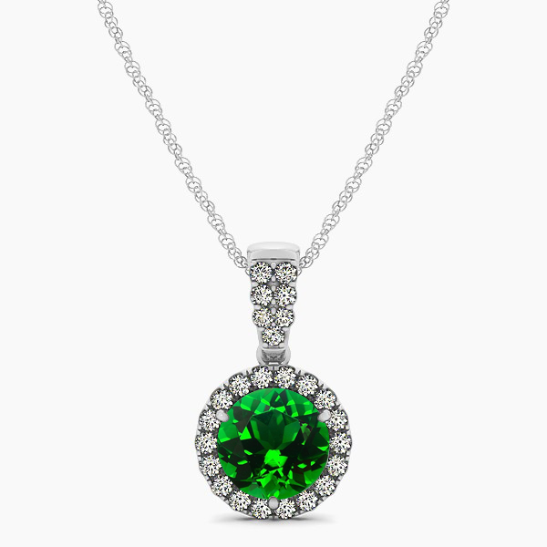 Gorgeous Drop Halo Necklace Round Cut Emerald VS1