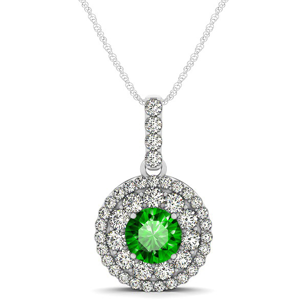 Round Emerald Necklace with Twin Halo Pendant
