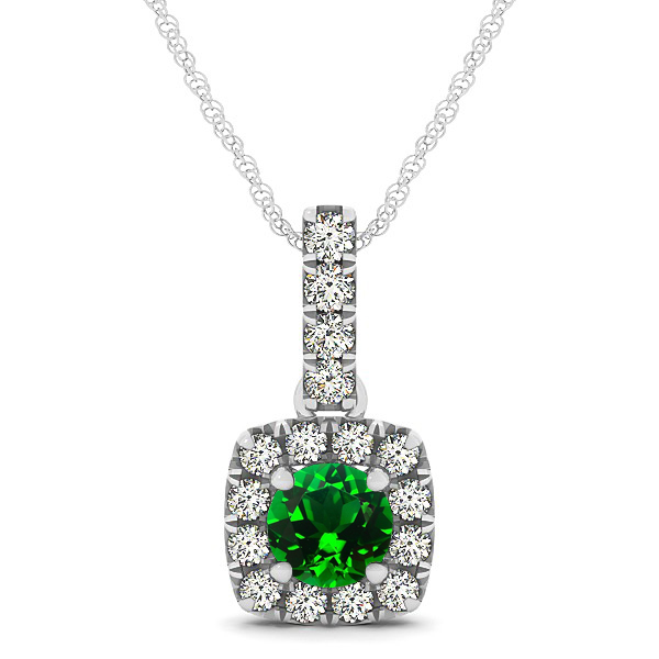 Peculiar Halo Side Stone Round Emerald Drop Necklace