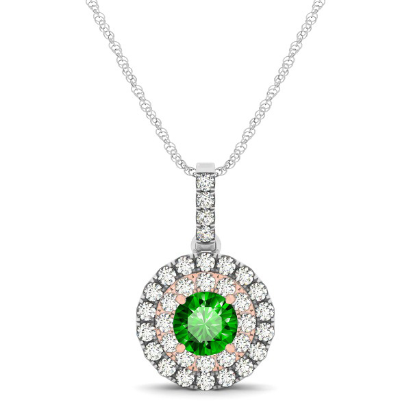 Dual Halo Round Emerald Pendant Necklace